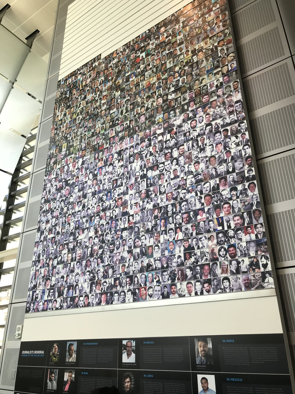 A sad testament to the danger many journalists face in trying to get the story to bring back to the world. These are all those who have died while on the job.