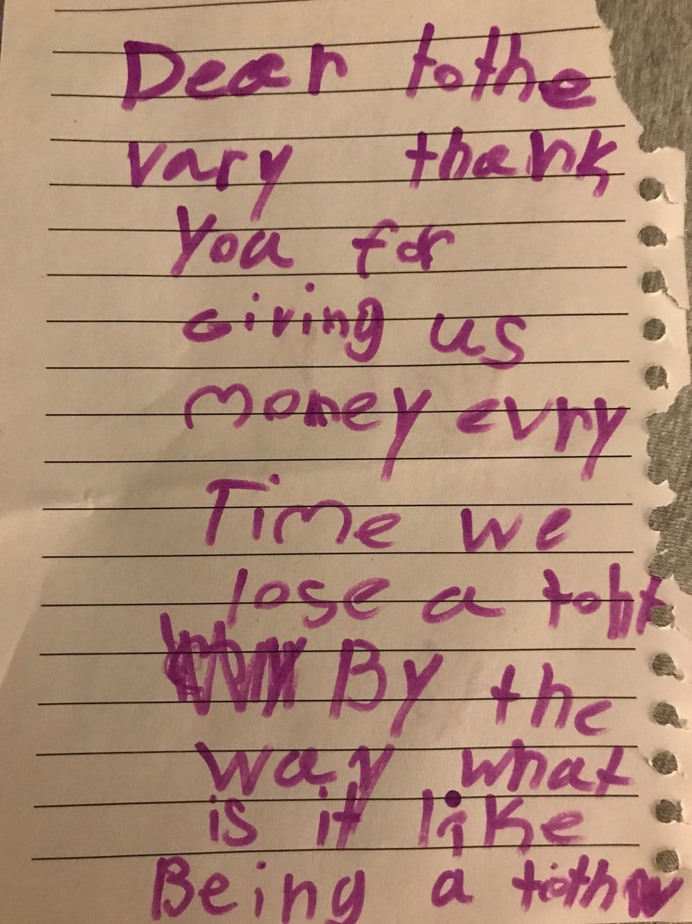 Dear Tooth Fairy, Thank you for giving us money every time we lose a tooth. By the way, what is it like being a tooth fairy?